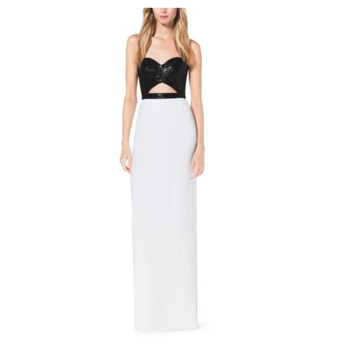 MICHAEL KORS COLLECTION Sequined Cutout Crepe-Sable Gown OPTIC WHITE
