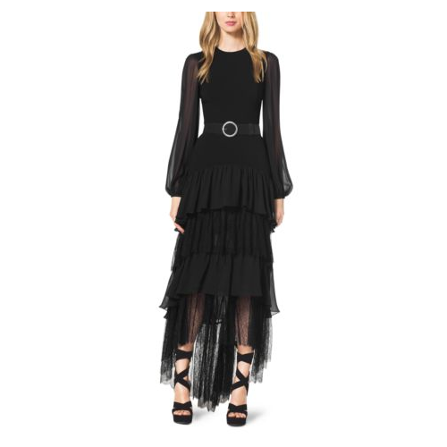 MICHAEL KORS COLLECTION Tiered Wool Crepe Gown BLACK
