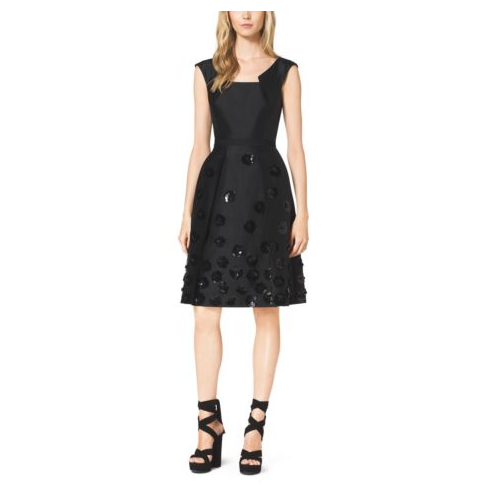 MICHAEL KORS COLLECTION Silk And Wool Shantung Embroidered Pleat Dress BLACK