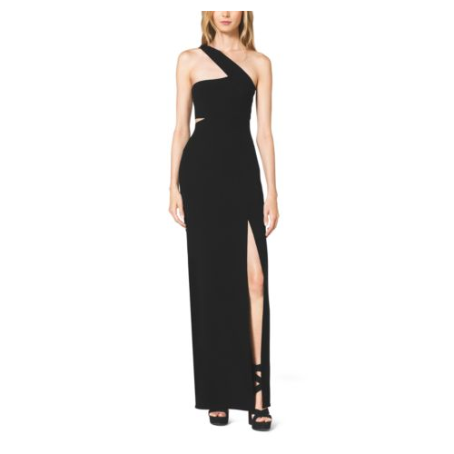 MICHAEL KORS COLLECTION One-Shoulder Cutout Wool-Crepe Gown BLACK