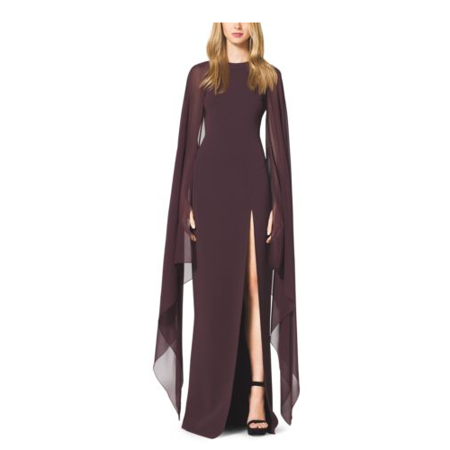 MICHAEL KORS COLLECTION Stretch-Wool Crepe Cape Gown BORDEAUX
