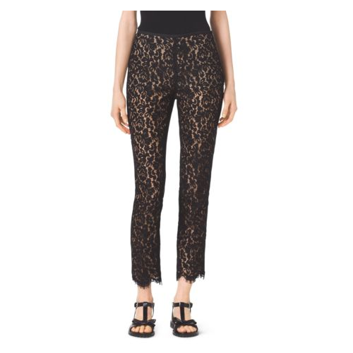 MICHAEL KORS COLLECTION Floral Lace Cotton Pants BLACK