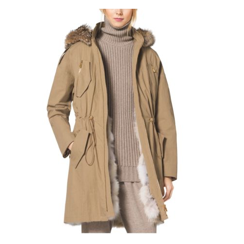 MICHAEL KORS COLLECTION Crinkled Cotton Fur-Lined Parka FAWN