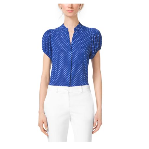 MICHAEL KORS COLLECTION Polka-Dot Silk-Georgette Blouse COBALT/WHITE
