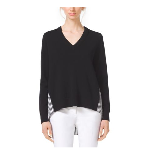 MICHAEL KORS COLLECTION Contrast Cashmere V-Neck Sweater BLACK