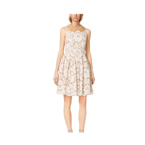 MICHAEL KORS COLLECTION Plong-Collar Floral Guipure Lace Dress MUSLIN