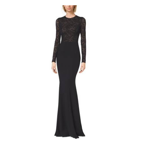 MICHAEL KORS COLLECTION Stretch Crepe-Cady Fishtail Gown BLACK