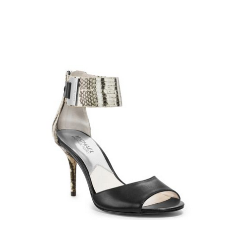 MICHAEL MICHAEL KORS Guiliana Embossed-Leather Ankle-Strap Sandal BLACK/WHITE