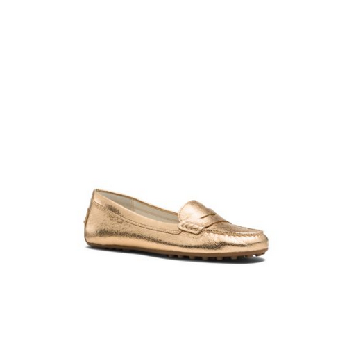 MICHAEL MICHAEL KORS Daisy Metallic Leather Loafer GOLD