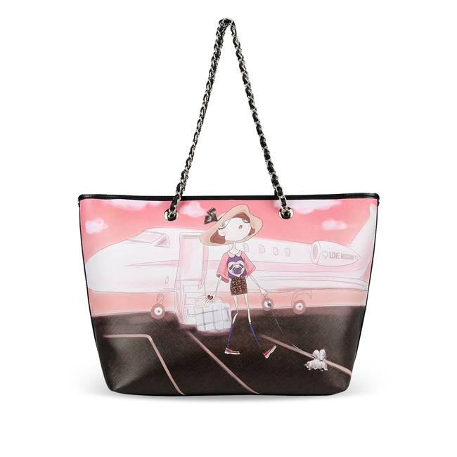 Love Moschino Large fabric bag PINK