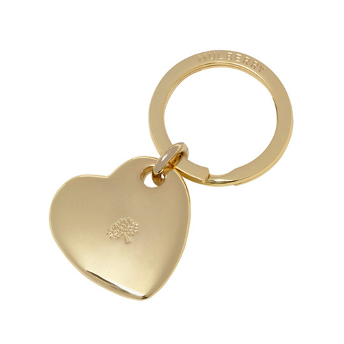 Mulberry Heart Keyring Soft Gold Metal