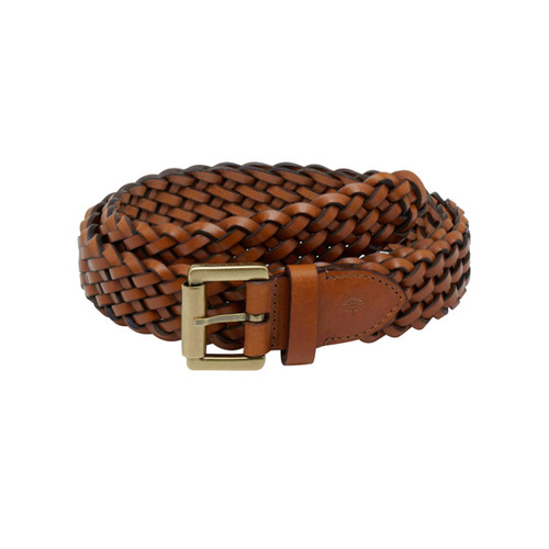 Mulberry Unisex Plaited Belt Oak Natural Leather