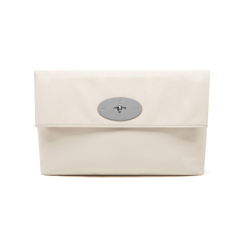 Mulberry Clemmie Clutch Cream Glossy Goat