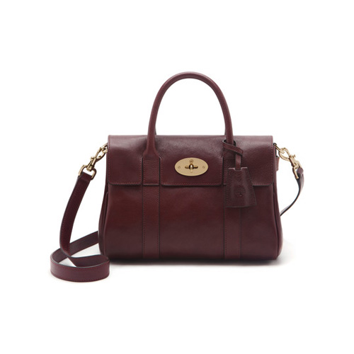 Mulberry Small Bayswater Satchel Oxblood Natural Leather