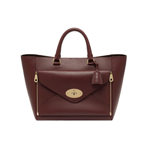 Mulberry Willow Tote Oxblood Silky Classic Calf With Soft Gold