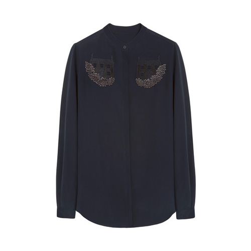 Mulberry Embroidered Kew Shirt Midnight Blue Crepe de Chine