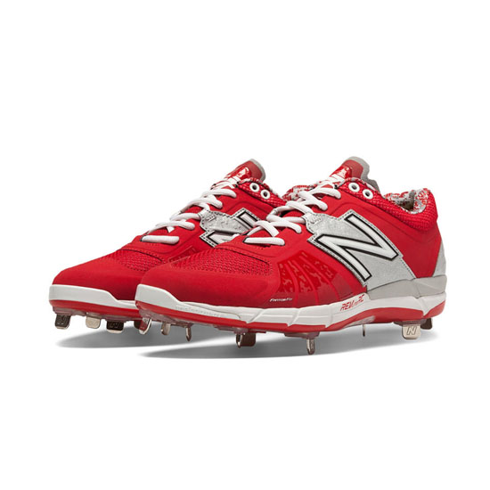 MEN'S New Balance Low-Cut 3000v2 Metal Cleat Red with Silver