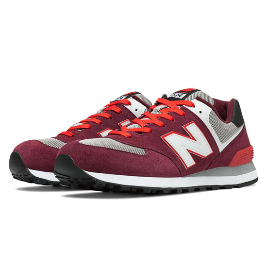 MEN'S New Balance 574 Burgundy with Red