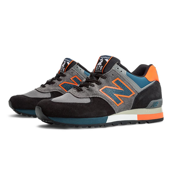 MEN'S New Balance Made in UK Three Peaks 576 Dark Grey with Orange & Navy