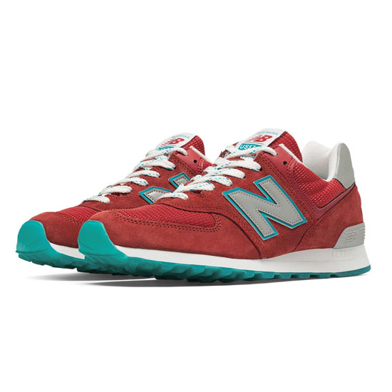 MEN'S New Balance Connoisseur East Coast Summer 574 Red with Silver & Blue Ashes