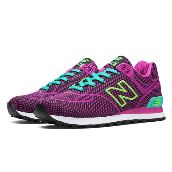 WOMEN'S New Balance Woven 574 Magenta with Turquoise & Lime Green