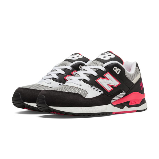 WOMEN'S New Balance 90s Running 530 Black with Grey & Coral Pink