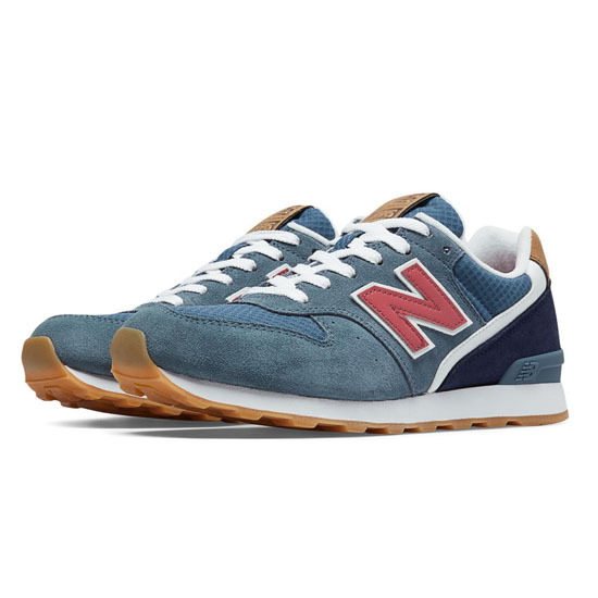 WOMEN'S New Balance 696 Chambray with Navy & Coral Pink