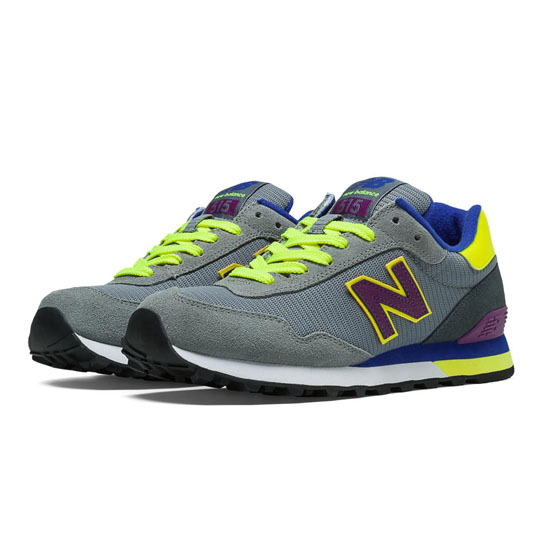 WOMEN'S New Balance 515 Grey with Lime Green & Dazzling Blue