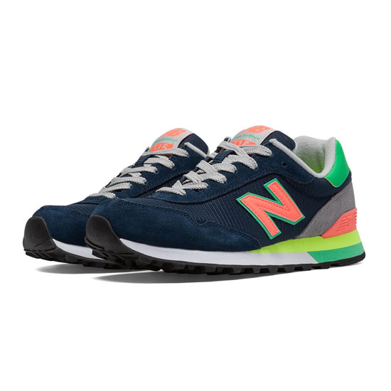 WOMEN'S New Balance 515 Navy with Orange & Green Flash