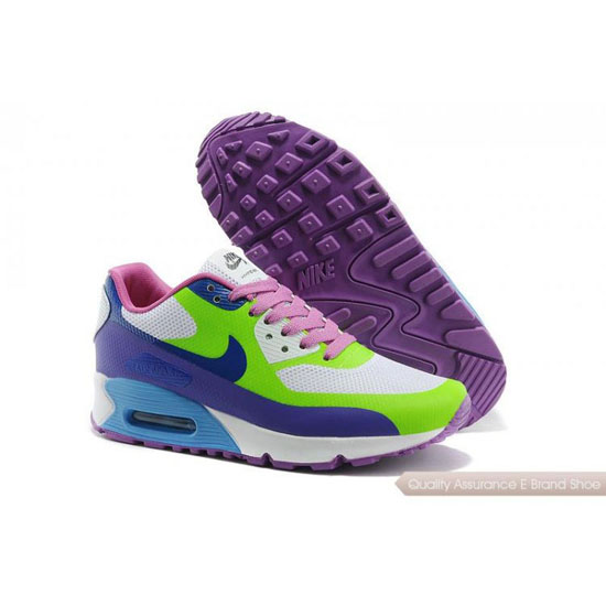 Nike Air Max 90 Hyperfuse Womens Green Purple Shoes