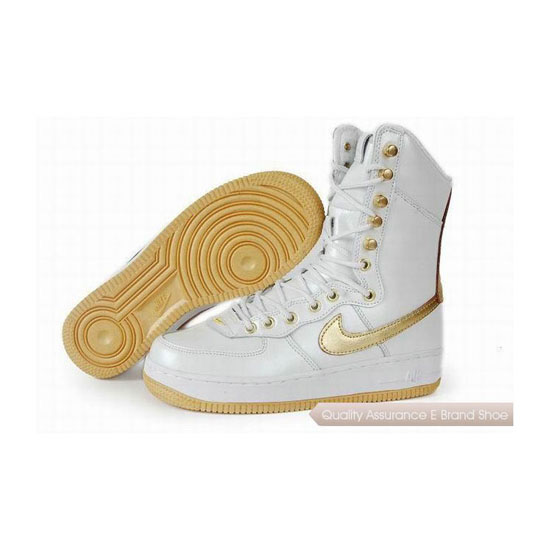 Nike Air Force 1 Womens White Gold Shoes
