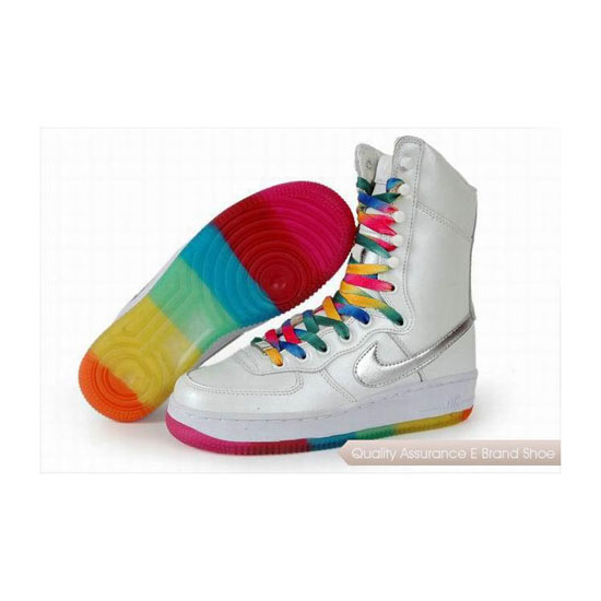 Nike Air Force 1 Womens White Colorful Shoes
