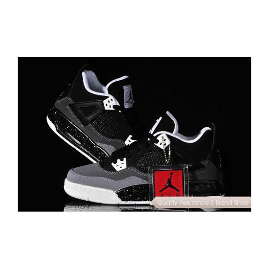 Nike Womens Air Jordan 4 Black Grey White Sneakers