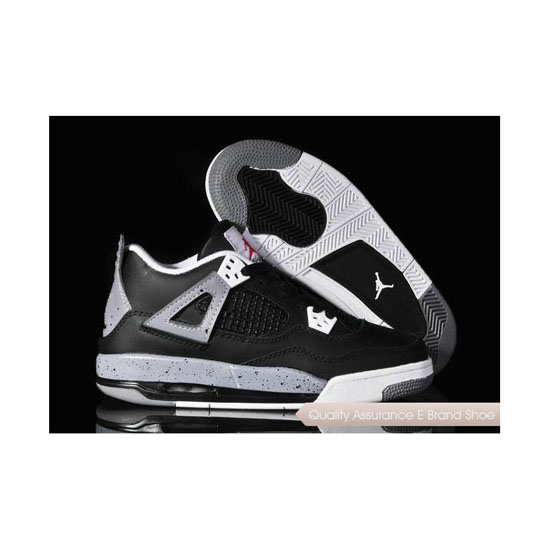 Nike Womens Air Jordan 4 Black/Cement Grey-White Sneakers