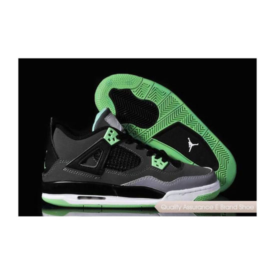 Nike Womens Air Jordan 4 Dark Grey/Green Glow-Black Sneakers