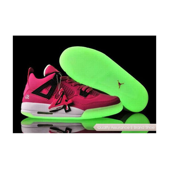 Nike Womens Jordan 4 Vivid Pink/Black-White Glow-in-the-Dark Sole Sneakers