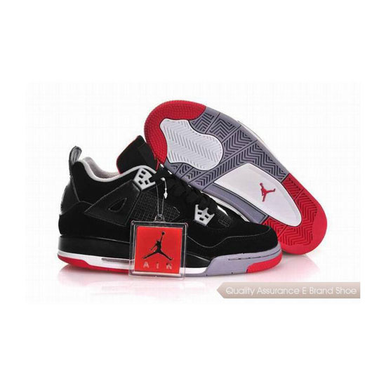 Nike Air Jordan 4 Womens Black Red With Plastic Tag Sneakers