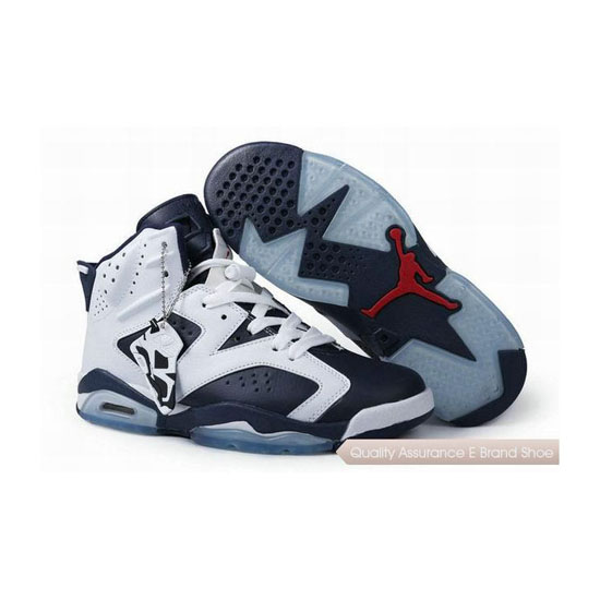 Nike Air Jordan 6 Navy White Sneakers