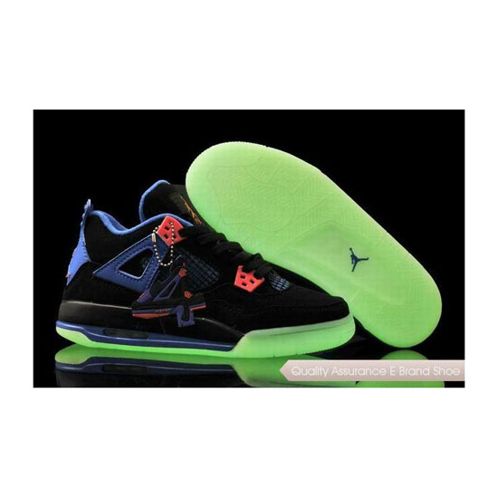 Nike Womens Jordan 4 Black/Game Blue Glow-in-the-Dark Sole Sneakers