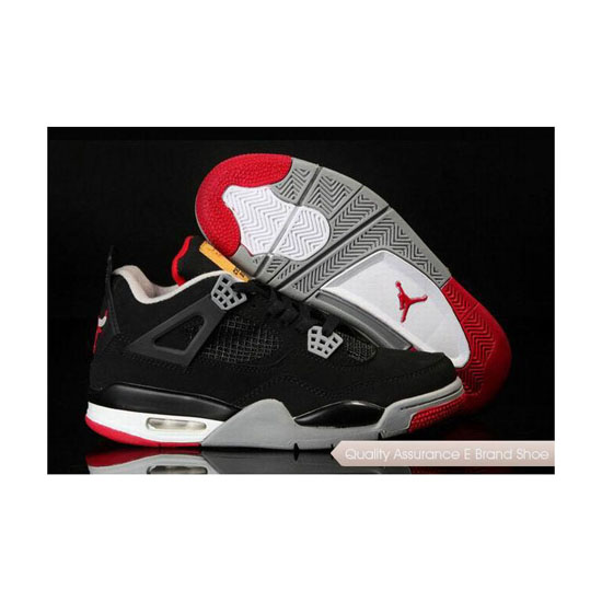 Nike Air Jordan 4 Chicago Bulls Logo Black Red Sneakers