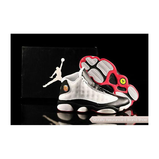 Nike Air Jordan 13 Mens White Black Red Sneakers