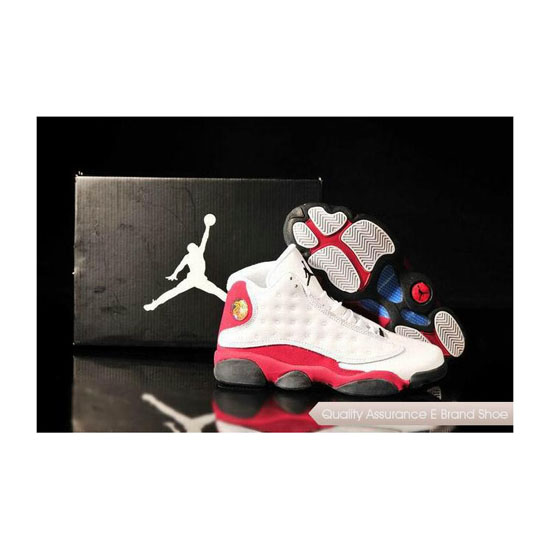 Nike Air Jordan 13 Mens White Red Black Sneakers
