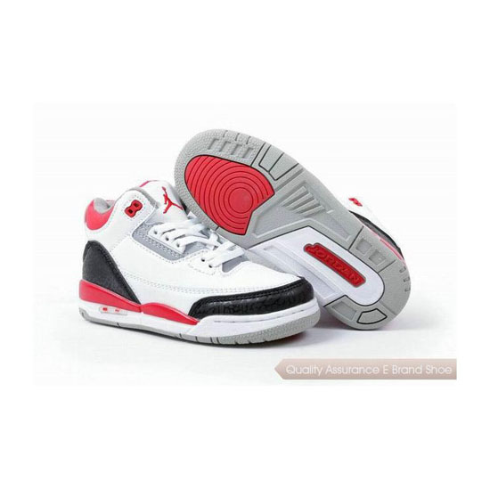 Nike Kids Jordan 3 White Black Red Sneakers