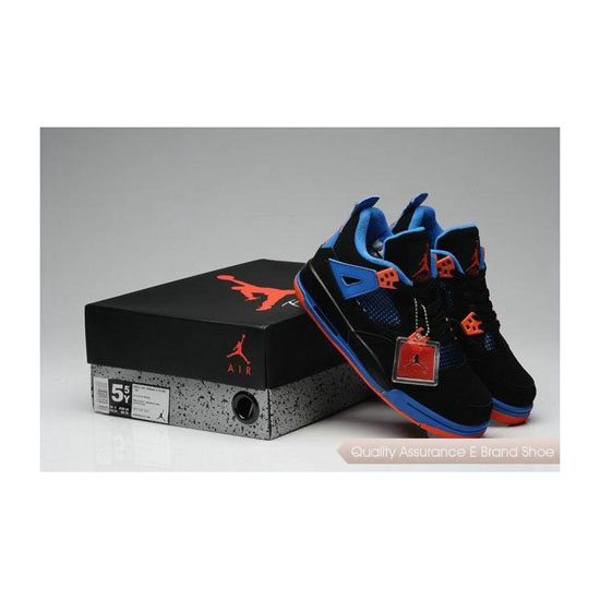 Nike Air Jordan 4 Womens Black Blue Orange Sneakers