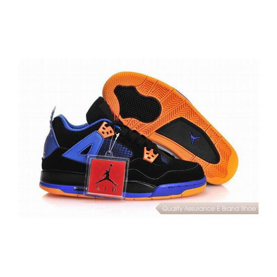 Nike Air Jordan 4 Womens Black Blue Orange With Plastic Tag Sneakers