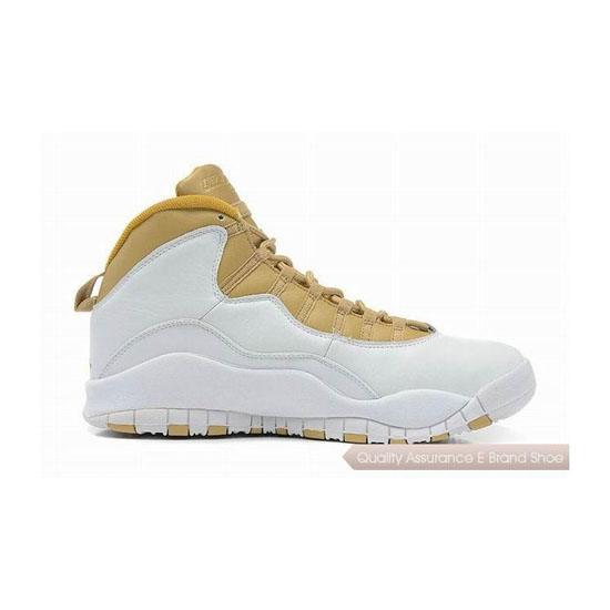 Nike Air Jordan 10 White Gold Sneakers