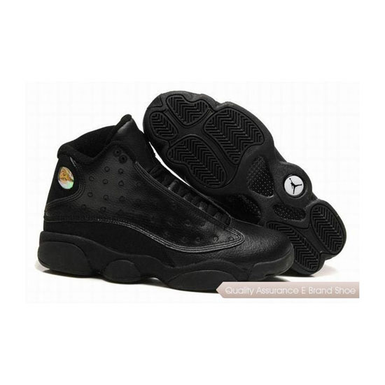 Nike Air Jordan 13 Retro All Black Leather Sneakers
