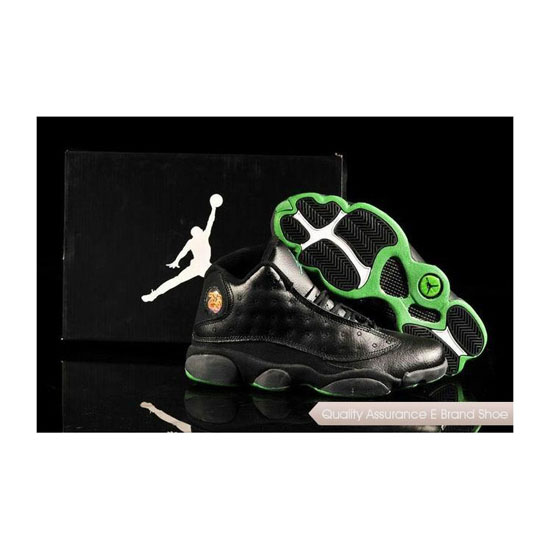 Nike Air Jordan 13 Mens Black Green Sneakers