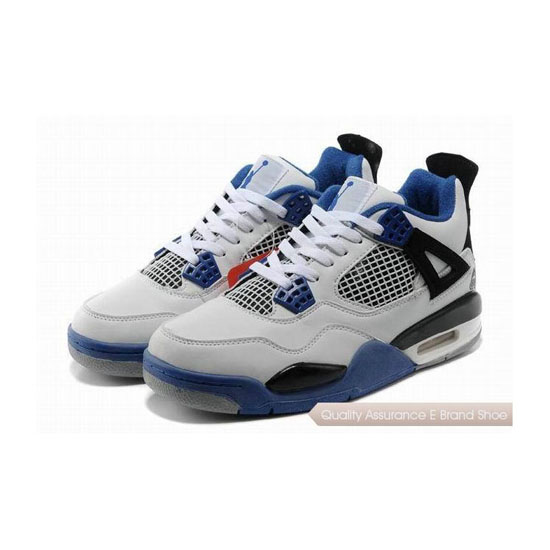 Nike Air Jordan 4 Retro White-Black/Blue Sneakers