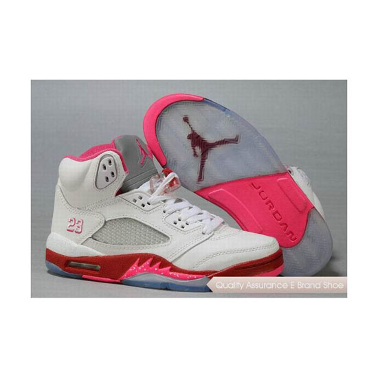 Nike Air Jordan 5 Womens White Red Pink Sneakers
